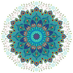Oriental Round Floral Paisley Pattern With Peacock Feathers Sticker