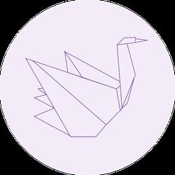Origami Bird Swan Paper Art On Purple Sticker