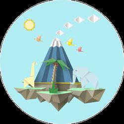 Origami Landscape Sticker