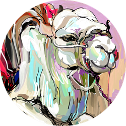 Original Digital Painting Artwork Of White Camel Sticker