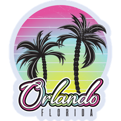 Orlando Florida Summertime Vintage Palm Sticker