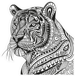 Ornamental Tiger Portrait Sticker