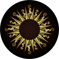 Ornate Antique Gold Sun Sticker