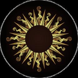 Ornate Antique Gold Sun Sticker