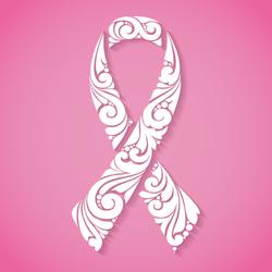 Ornate Breast Cancer Ribbon Sticker