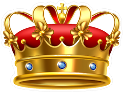 Ornate Ceremonial Red and Gold Crown Sticker