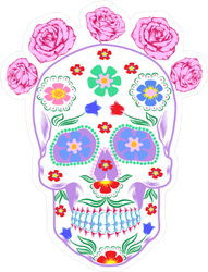 Ornate Flower Decorated Day Of The Dead Sticker