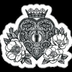 Ornate Mystic Heart Keyhole Tattoo Sticker