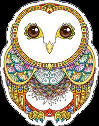 Ornate Zendoodle Owl Sticker