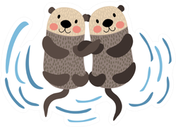 Otter Couple Holding Hands Sticker