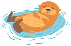 Otter Floating On Back Sticker