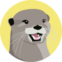 Otter Illustration Character On Yellow Sticker