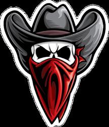 Outlaw Skull Cowboy Sticker