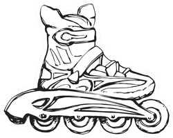 Outline Black Hand Drawn Rollerskate Sticker