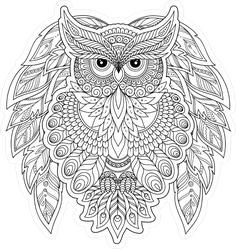 Outline Drawing Zentangle Style Owl Sticker