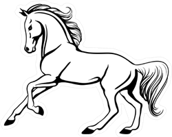 Outline Illustration Of Beautiful Horse Sticker