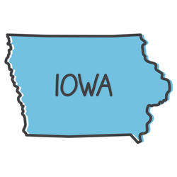 Outline Of Iowa Map Blue Lettering Sticker