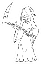 Outlined Laughing Grim Reaper Holding A Scythe Sticker