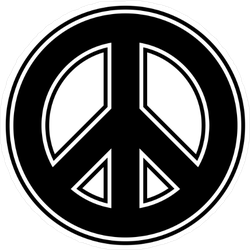 Outlined Peace Sign Sticker