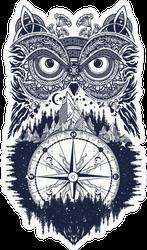 Owl And Compass Tattoo Art Sticker