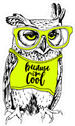 Owl in Bright Shirt and Glasses Sticker