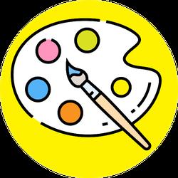 Paint Palette Line Icon Sticker