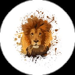 Paint Splatter Lion Head Sticker