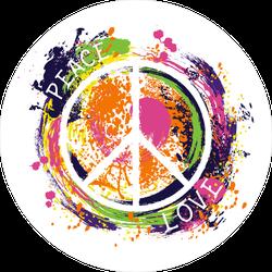 Paint Splatter Peace and Love Hippie Sticker