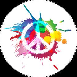Paint Splatter Peace Sign Hippie Sticker