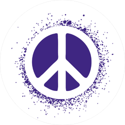 Paint Splatter Purple Peace Sign Sticker