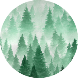 Painted Watercolor Foggy Forest Sticker