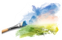 Painting The Spring Landscape Sticker