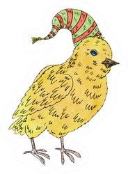 Painting With Watercolor Little Chicken In Hat Sticker