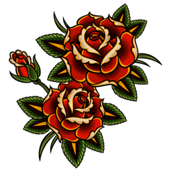 Pair of Roses Tattoo Style Sticker