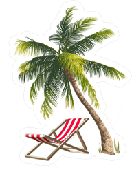 Palm Tree and Beach Chair Sticker