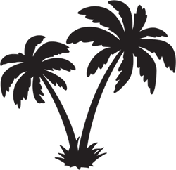 Palm Tree Coconut Vector Icon Sticker