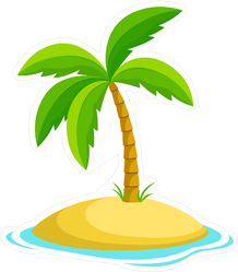 Palm Tree On A Small Island Sticker