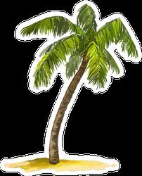 Palm Tree Single Watercolor Sticker