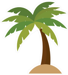 Palm Tree Vector Cartoon Sticker