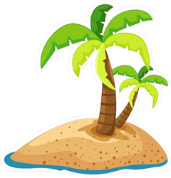 Palm Trees on Small Island Sticker
