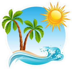 Palm Trees on Tropical Island Sticker