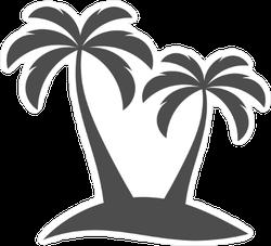 Palm Trees Silhouette On Island Sticker