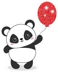 Panda Bear Holding Sparkling Red Balloon Sticker
