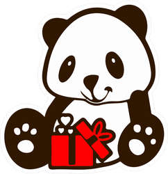 Panda Bear With Red Gift Sticker