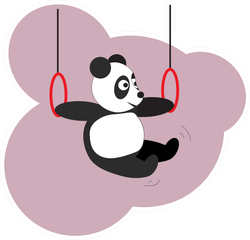 Panda Does Gymnastics On The Rings Sticker
