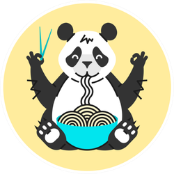 Panda Eating Noodles With Chopsticks Sticker