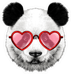 Panda Face With Heart Glasses Sticker