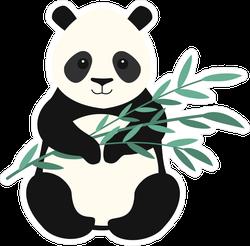 Panda Holding Bamboo Branch Sticker