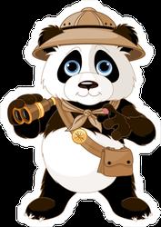 Panda Safari Explorer With Binoculars Sticker
