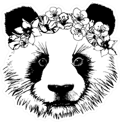 Panda With Circlet Of Flowers Sticker